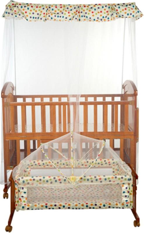 MeeMee Wooden Baby Cot With Cradle & Swing, Mosquito Net (Brown) Cot(Brown)