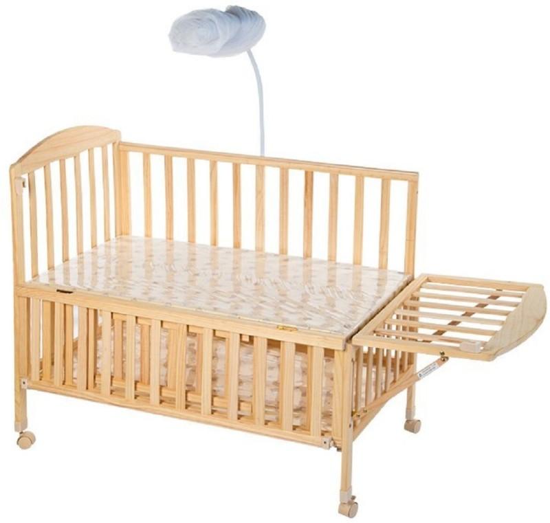 MeeMee Wooden Baby Cot with Cradle (Cream) Cot(Cream)