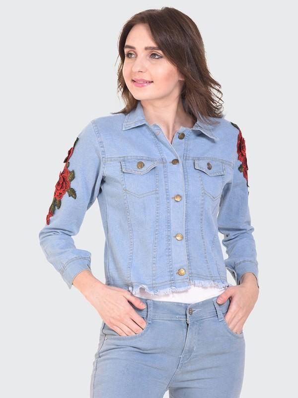 BuyNewTrend Full Sleeve Floral Print Women Denim Jacket