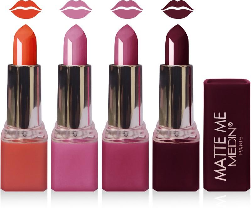 Medin paris matte me lipstick cosmetics makeup combo set of 4(pink orange purple hot chocolate, 20 g)