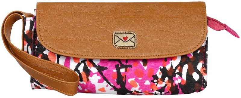 Pickpocket Pink and brown Wristlet(Brown, Pink)