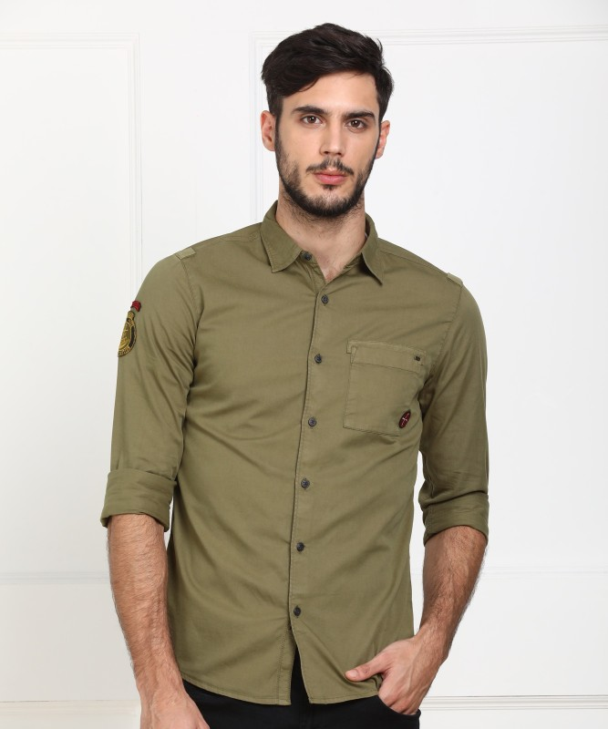 Spykar Men's Solid Casual Green Shirt
