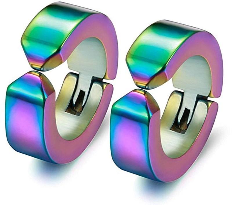 Miami Valentine Gifts Jewellery Silver non Mens Earings / Earrings Combo For Men/Boys/Boyfriend/ - BALI-120 Copper, Brass Huggie Earring