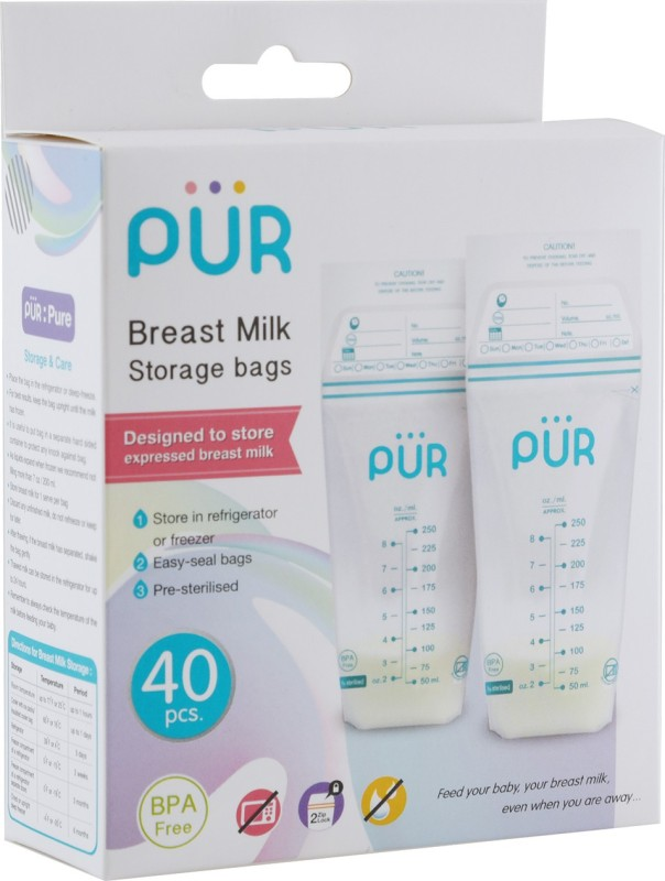 PUR Breast milk storage bags(Pack of 50, White)