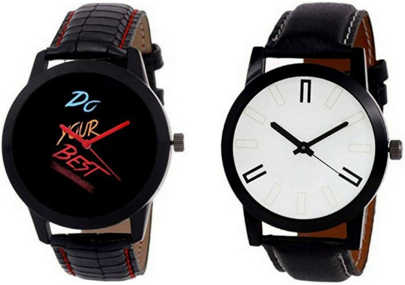 Salecrowd Black and Red & White Exclusive Watch | Quartz analogue Watch |Combo Of 2 Different Color Watch| Amazing Case | Stylish Leather Belt | Good Looking |Attractive Dial Analog Watch - For Boys
