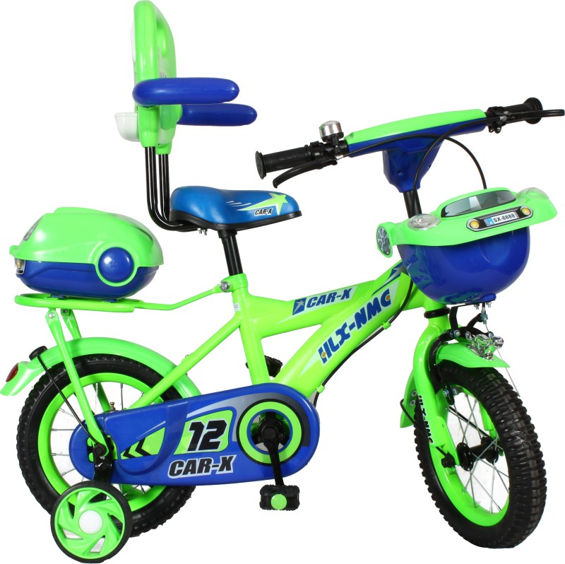 HLX-NMC Car design premium 12 - inch kids bicycle - Green/Blue 12 T Recreation Cycle(Single Speed, Green, Blue)