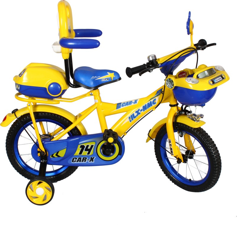 HLX-NMC Car design premium 14 - inch kids bicycle - Blue/Yellow 14 T Recreation Cycle(Single Speed, Blue, Yellow)