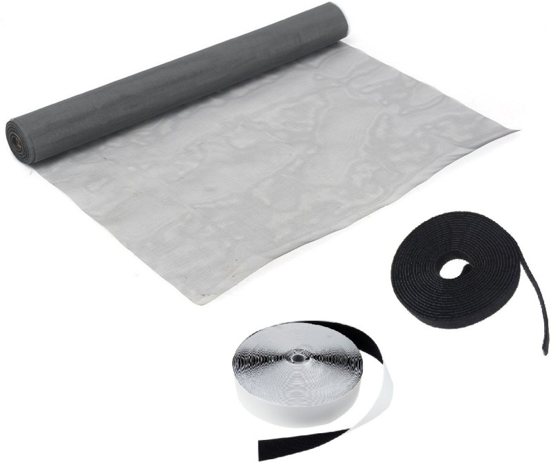 Royalkart High Density Polyethylene Adjustable Window Screen DIY Fiberglass Net Anti-Mosquito Bug Insect with Self-Adhesive Hook Tape and Non-Adhesive Loop Tape (150 cm X 210 cm)(Dark Grey) Insect Net Insect Net