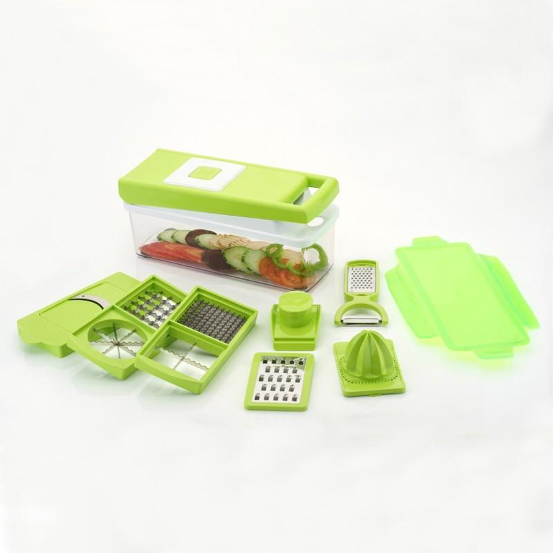 Arni Vegetable & Fruit Chipser with 8 Blades + 1 Free Peeler Inside, Vegetable Chopper, Vegetable Green Dicer & Slicer ( 11 In 1 ) Vegetable & Fruit Grater & Slicer(1 Dicer Set)