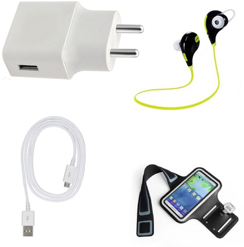 DAKRON Wall Charger Accessory Combo for Intex Indie 15(White)