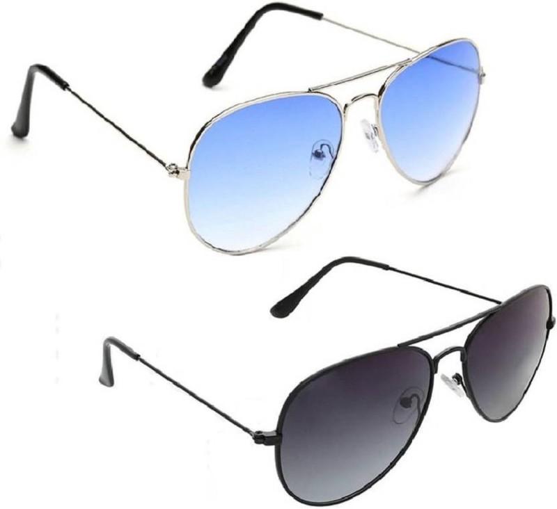 SPEXRA Aviator Sunglasses(Blue, Black)