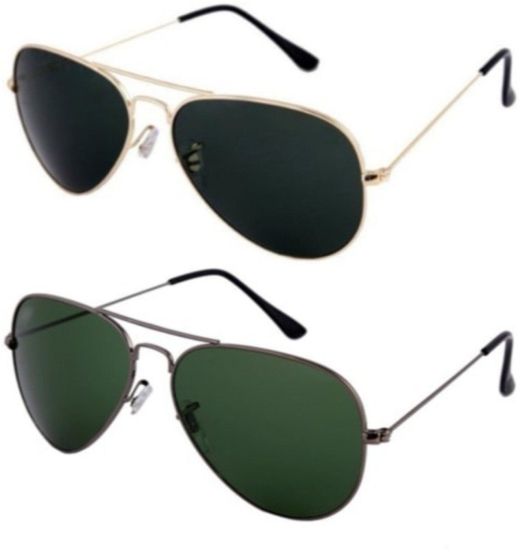spexra Aviator Sunglasses(Black, Green)