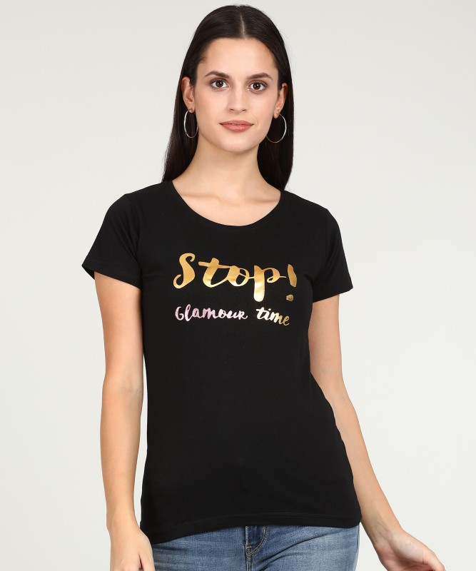 Jealous 21 Printed Women Round Neck Black T-Shirt