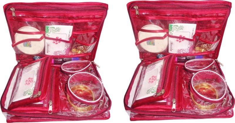 Sarohi Pack of 2 Satin Bangle Jewellery Makeup Beauty Kit Storage Pouch Vanity Box(Maroon)