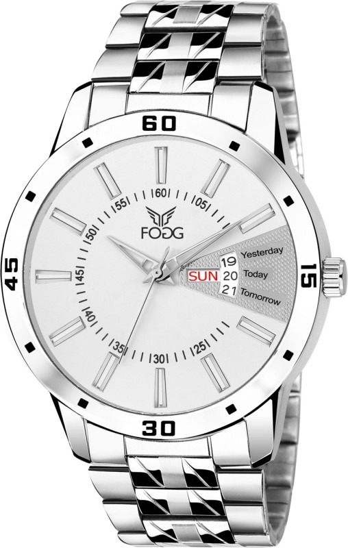 Fogg 2038-WH Day and Date Analog Watch - For Men