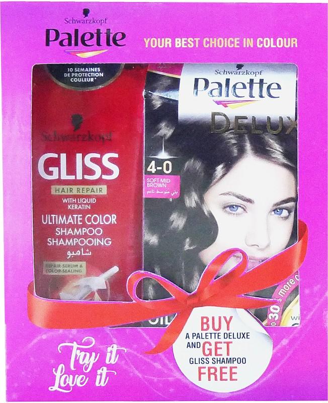 Schwarzkopf Palette Deluxe Oil Care Color- 4-0 Soft Mid Brown & Get Free Gliss Hair Repair Liquid Keratin Ultimate Color Shampoo 250 ml) Hair Color(Soft Mid Brown)