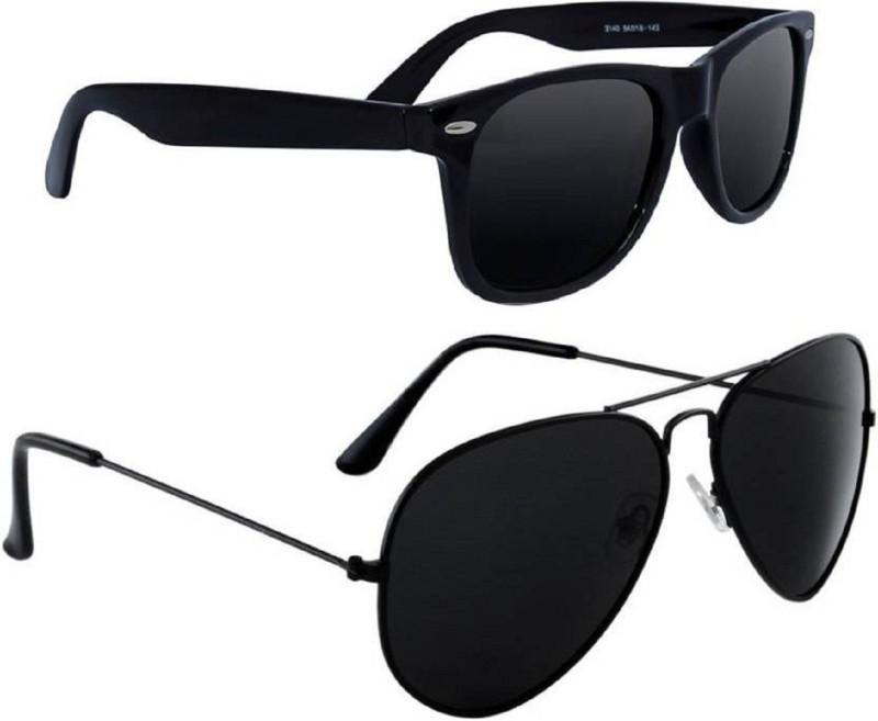 Spexra Wayfarer, Aviator Sunglasses(Black)