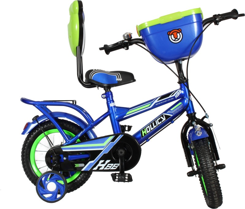 Hollicy HBB premium 12 inch kids bicycle with integrated back carrier - Blue/Green 12 T Road Cycle(Single Speed, Blue, Green)