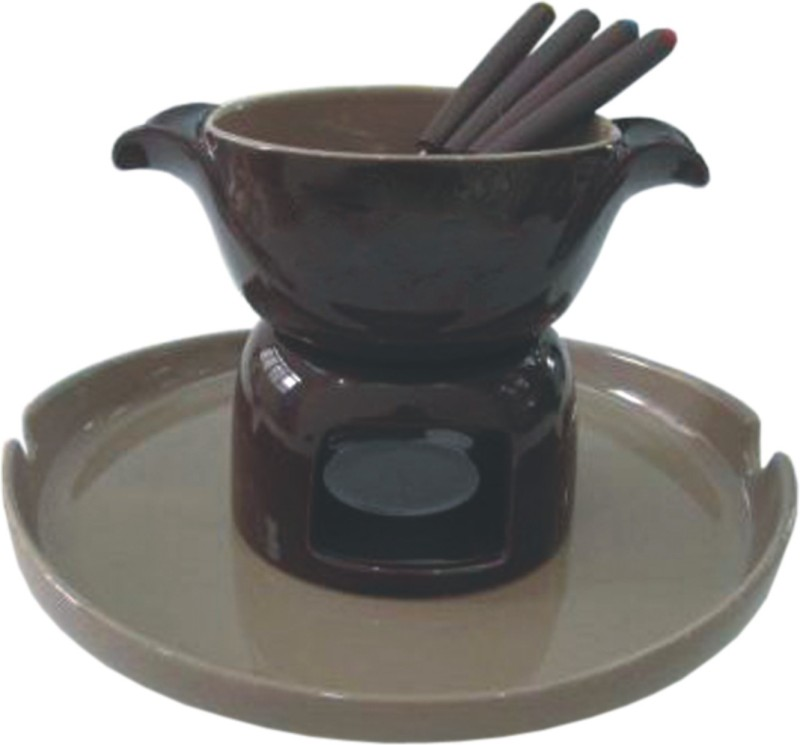 GOOD HOMES 7 pcs Chocolate Fondue Set with Tray & 2 Candles, 4 Forks in a set FND-60 Ceramic Fondue Set(Brown)
