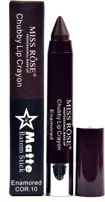MISS ROSE Matte Lipstick / Lip Crayon Chubby 10(DARK BROWN, 3 ml)