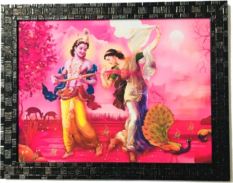 NRJABS Radha Krishna Glitter Framed Wall Art Painting for Home Office - Religious God Photo Frames - Gift for House warming, Anniversary, Birthday, New Year for all Occasion - 10.2(26cm)inch * 13.3(34cm)inch Religious Frame