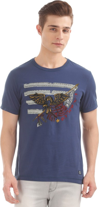 Arrow Blue Jean Company Printed Men Round or Crew White T-Shirt