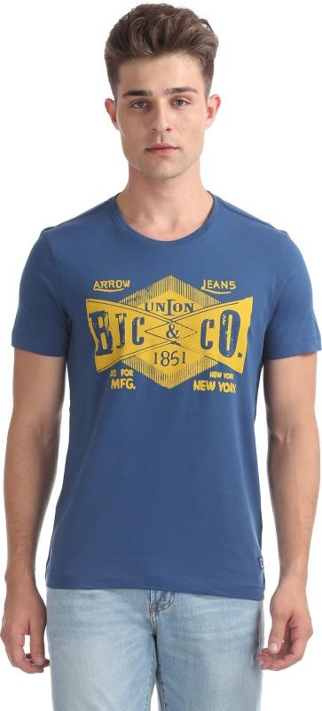 Arrow Blue Jean Company Solid Men Round Neck Blue T-Shirt