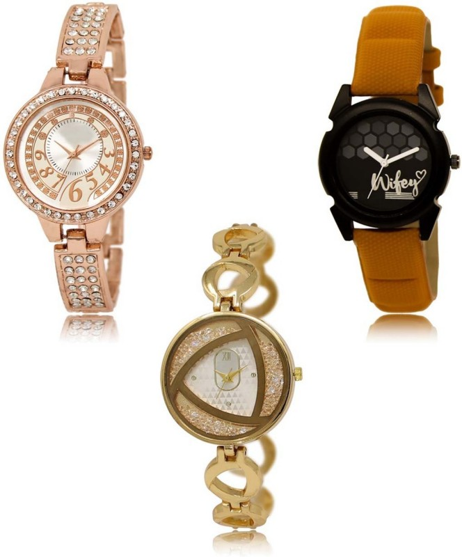 HK LR-216-235-239 Premium Quality Collection Latest Set of 3 Stylish Attractive Professional Designer Combo Analog Watch  - For Women