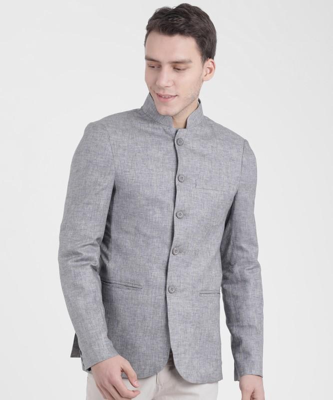 The Indian Garage Co Self Design Bandhgala Casual Men Blazer(Grey)