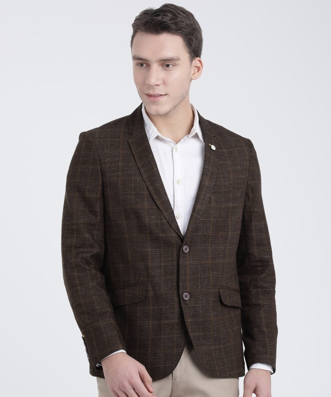 The Indian Garage Co Checkered Single Breasted Casual Men Blazer(Brown)