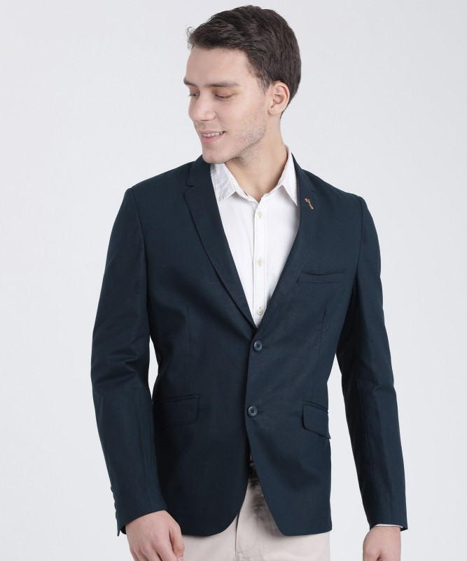 The Indian Garage Co Solid Single Breasted Party Men Blazer(Dark Blue)