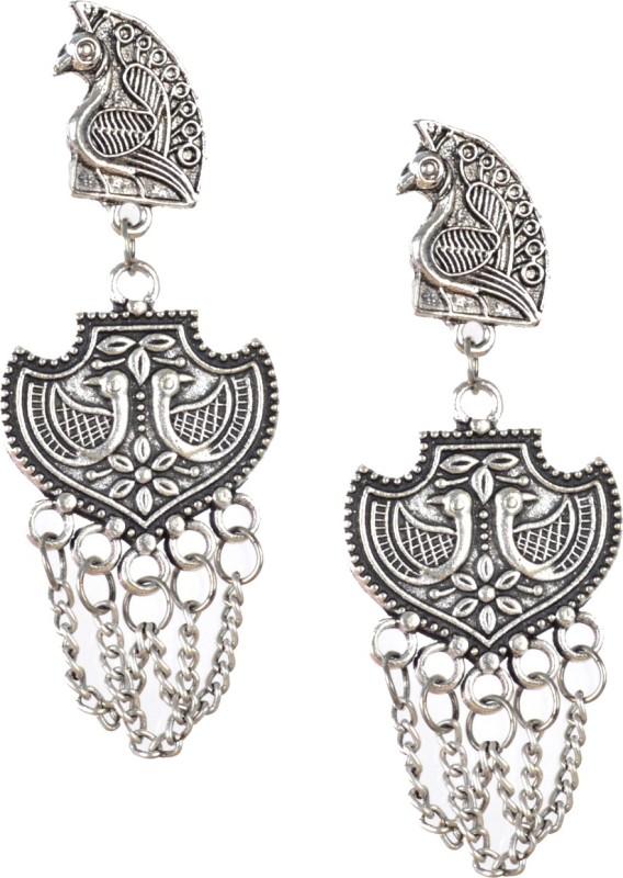 DarkLady Handmade Oxidised Earrings Online Silver Color German Silver Drops & Danglers