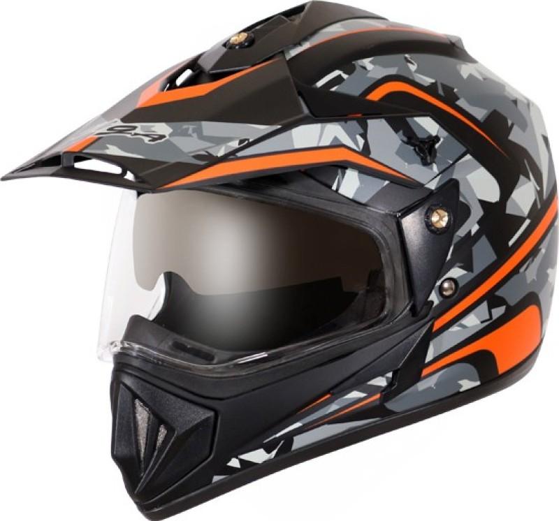VEGA Off Road D/V Camo Motorbike Helmet(Dull Black Orange)