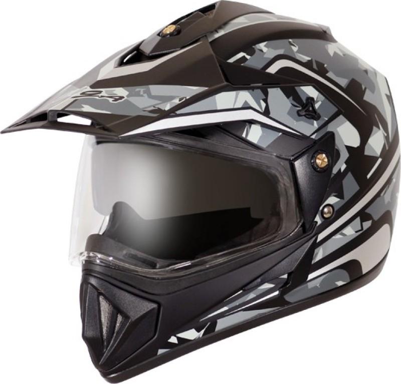 VEGA DV CAMO DULL BLACK SILVER Motorbike Helmet(Black)