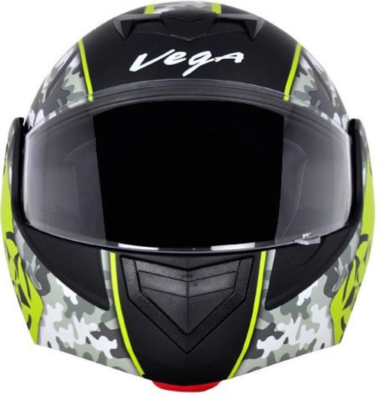 VEGA CRUX DX DULL BLACK NEON YELLOW FLIPUP FIBER ISI CERTIFED Motorbike Helmet(DULL BLACK NEON YELLOW)