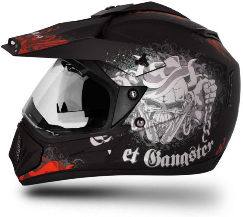 VEGA Off Road D/V Gangster Motorbike Helmet(Dull Black Orange)