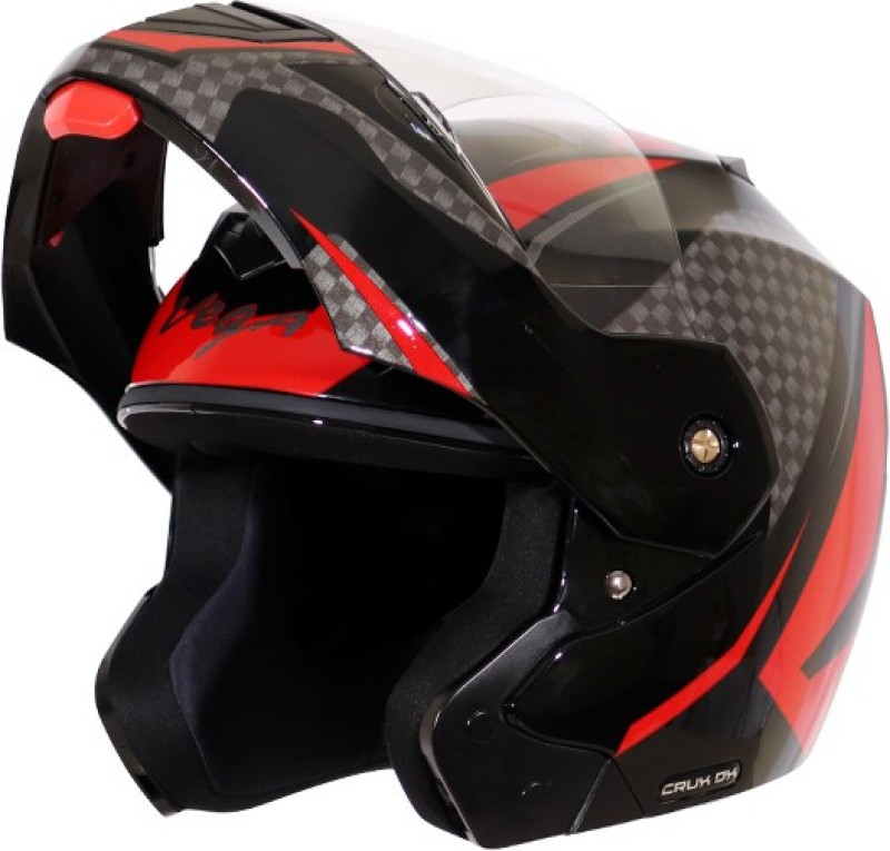 VEGA Crux DX Checks Motorbike Helmet(Black Red)