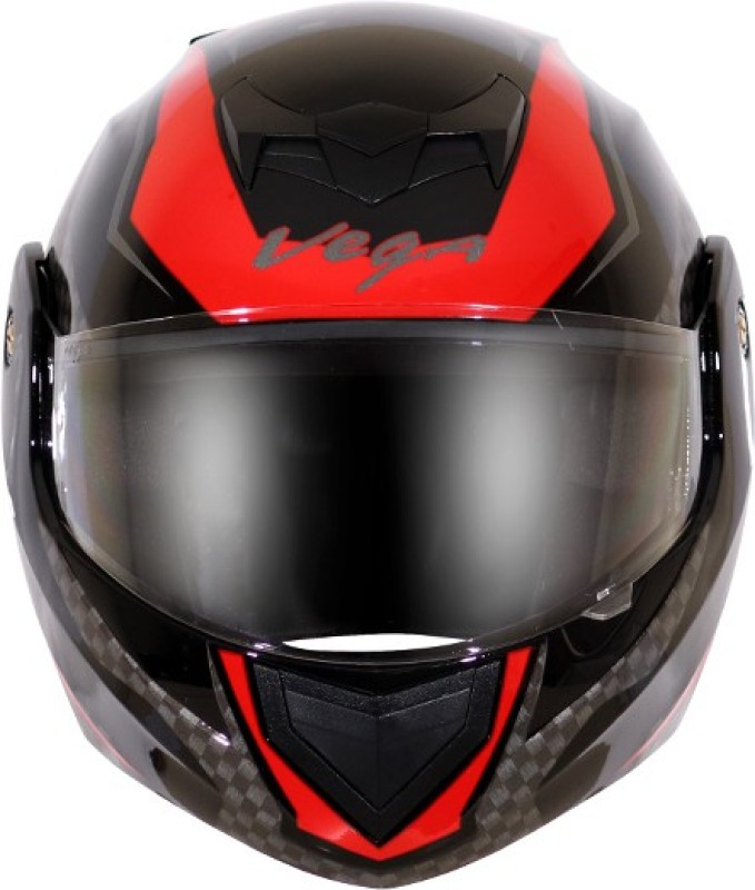 VEGA CRUX DX CHECKS BLACK RED HELMET Motorbike Helmet(Multicolor)