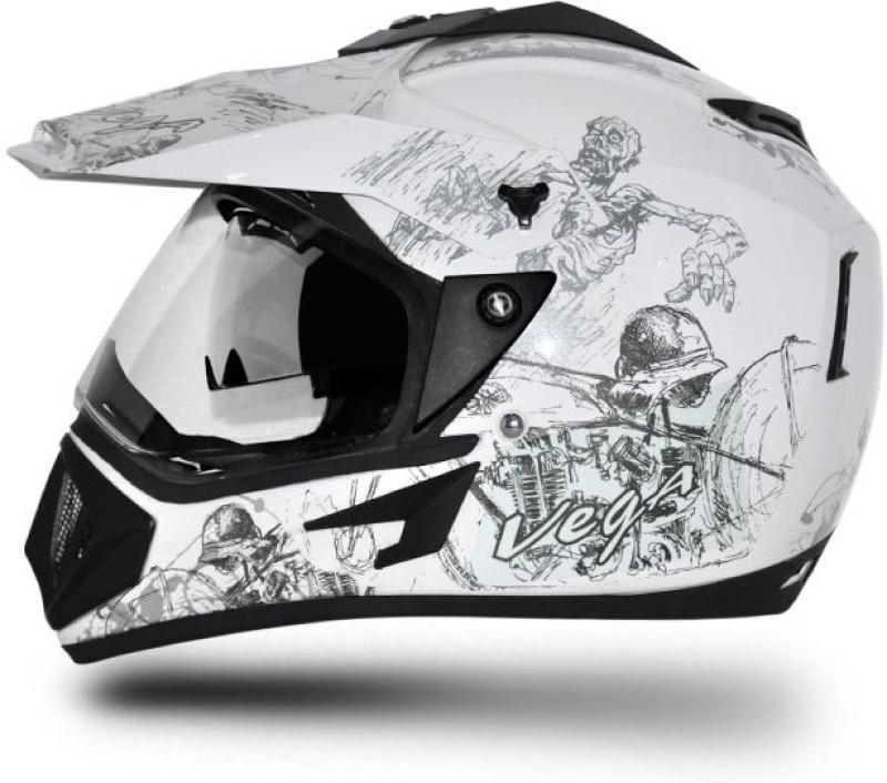 VEGA Off Road D/V Secret Motorbike Helmet(White Silver)