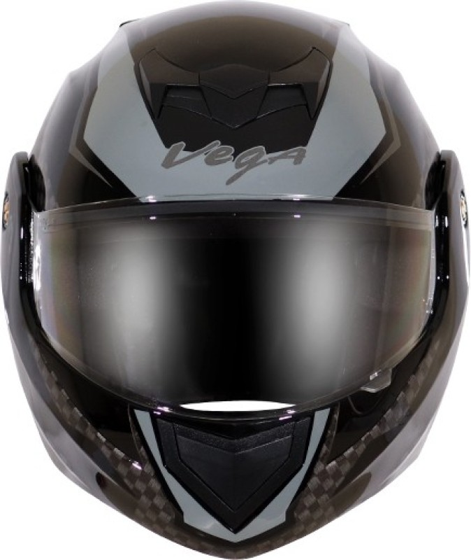 VEGA CRUX DX CHECKS BLACK SILVER HELMET Motorbike Helmet(BLACK SILVER)