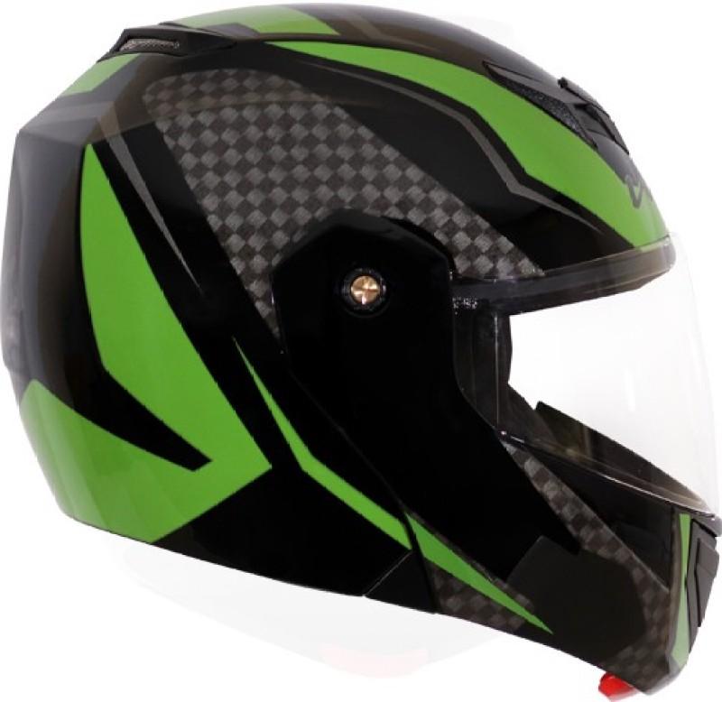 VEGA CRUX DX CHECKS ( Matt Finish ) Motorbike Helmet(Dull Black Green)