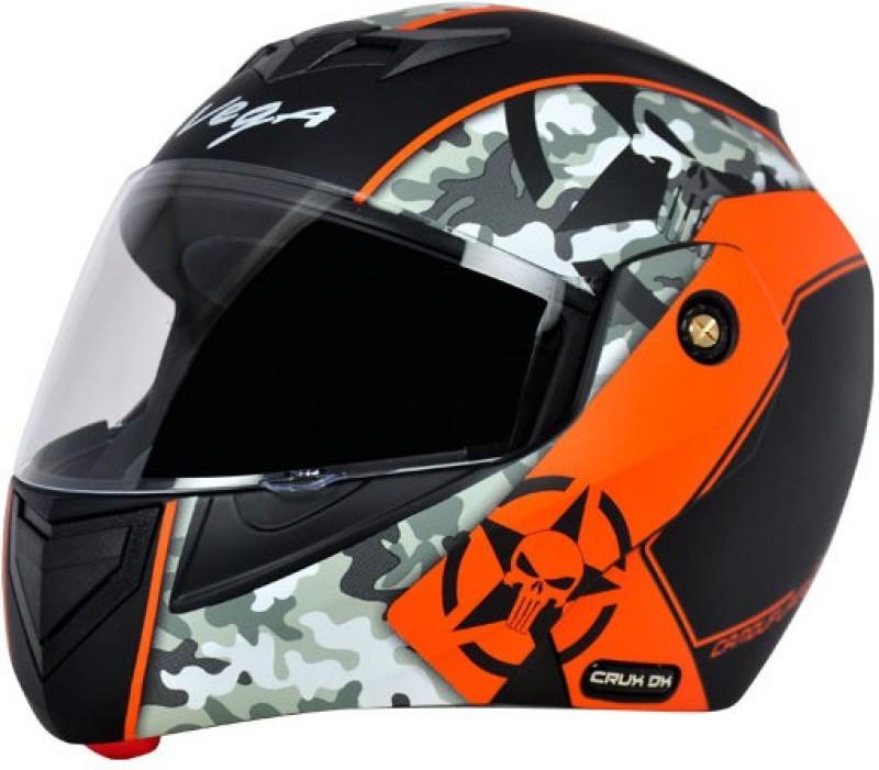 VEGA Crux DX Camouflage Motorbike Helmet(Dull Black Orange)