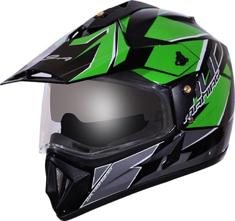 VEGA Off Road D/V Mud Motorbike Helmet(Black Green)
