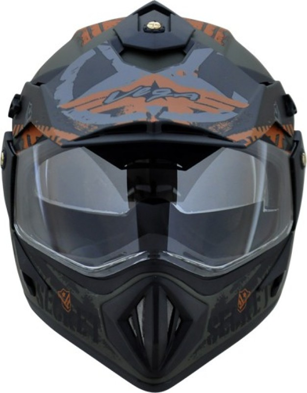 VEGA OFF ROAD D/V SECRET DULL GREEN BLACK HELMET Motorbike Helmet(DULL GREEN BLACK)