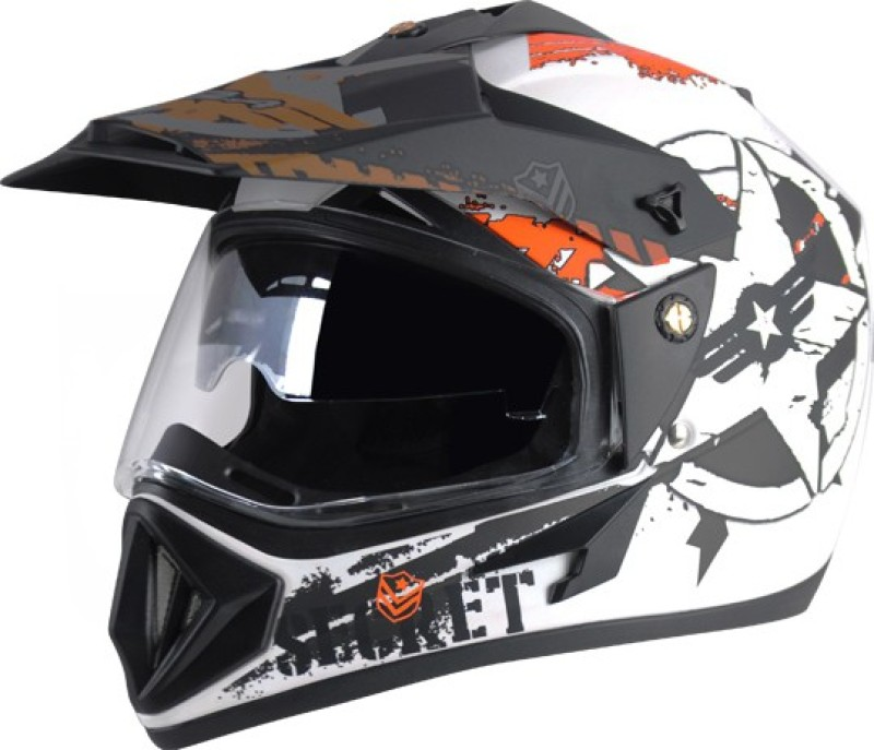 VEGA Off Road D/V Secret Motorbike Helmet(Dull White Black)