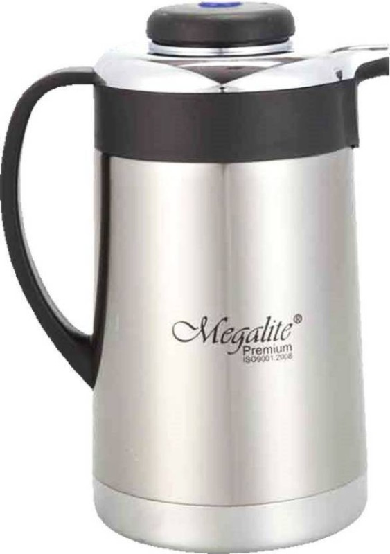 Megalite SMART designed Stainless Thermo Steel Double-Wall Vacuum Insulated Thermo Jug Hot Water Bottle Coffee,Tea, Beverage Coffee Pot, Jug Flask 18/8 Capacity-1 L Multipurpose Special Gift Pack, Self Use; and Diwali, Dhanteras & Festive Gifts Pot 1.3 L with Lid(Stainless Steel, Non-stick, Inductio