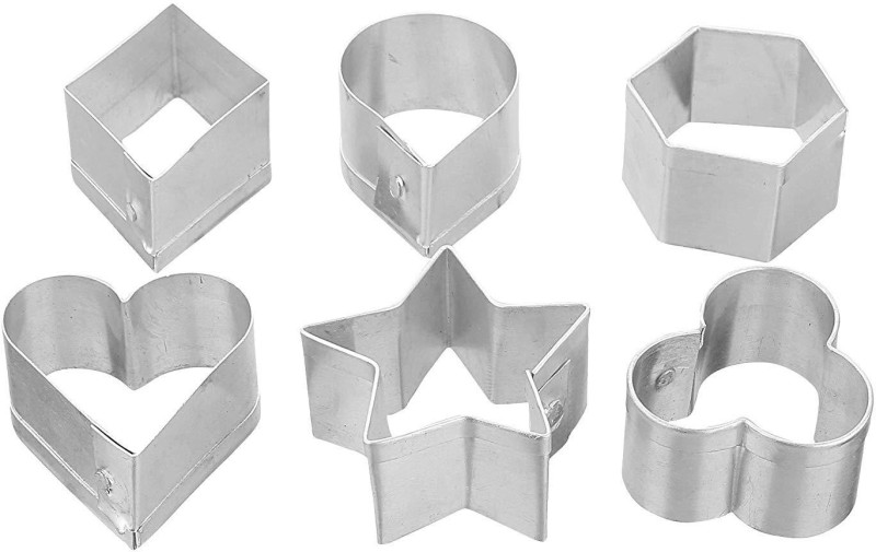 Bridge2Shopping Biscuit Cutter   Cookie Cutter   Stainless Steel Biscuit Cutter   Stainless Steel Cookie Cutter   Biscuit Mould   Cookie Mould   Cutting Cutters   Baking Accessories   Baking Tool - 6 Shapes Cookie & Biscuit Press Pump(Manual)