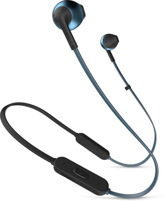 JBL T205BT Bluetooth Headset with Mic(Blue, In the Ear)