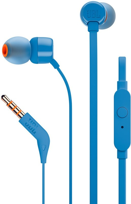 JBL T160 Wired Headset with Mic(Blue, In the Ear)