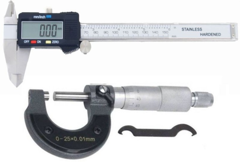 Divinext Combo Digital Caliper 0-150mm + Manual Micrometer 0-25mm Outside Micrometer Screw Gauge Electronic Gauge Ruler Digital Vernier Caliper Wrench Precision Measuring Instrument Tool to Measure Distance Between Two Sides, Outer Diameter, External Dime